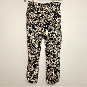Cartonnier Mauve Black Floral Dress Pants 10 Crop